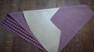 Step 1. Take the 2 x fat quarter pieces lay them right sides together. Fold in half creating a triangular type of shape as photo so you have the longest length possible
